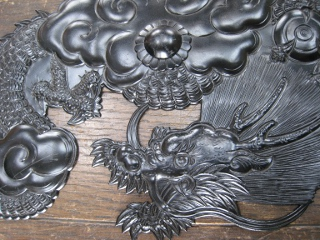 Meticulously engraved dragon of handmade metal ornament (ironwork)